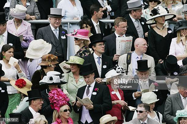 Ascot hats and fashions amongst racegoers attending the first day of Royal Ascot Races on June 20 2006 in Berkshire England