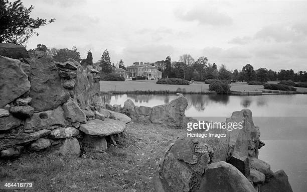 Ascot Place, Winkfield, Berkshire, 1945. The view across the lake from the viewing platform above the mid 18th-century grotto towards the house