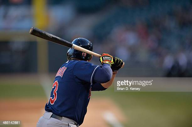 Asdrubal Cabrera of the Cleveland Indians bats during the first inning against the Chicago White Sox at US Cellular Field on April 11 2014 in Chicago...