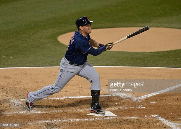 Asdrubal Cabrera of the Cleveland Indians bats during the second inning against the Chicago White Sox at US Cellular Field on April 11 2014 in...