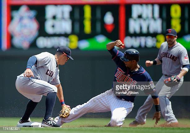 Asdrubal Cabrera of the Cleveland Indians catches Aaron Hicks of the Minnesota Twins stealing second base during the third inning of the game on July...