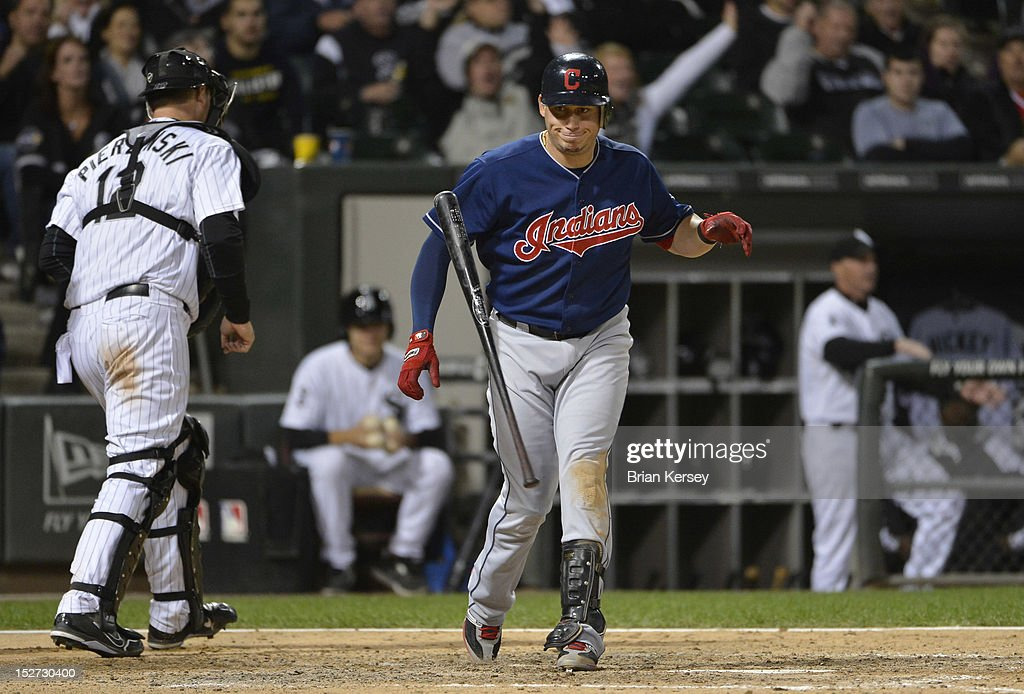 Asdrubal Cabrera #13 of the Cleveland Indians flips his bat after striking out to to end the seventh inning at U.S. Cellular Field on September 24, 2012 in Chicago, Illinois. The White Sox defeated the Indians 5-4.