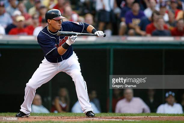 Asdrubal Cabrera of the Cleveland Indians squares up to attempt a bunt against the New York Yankees during Game Two of the American League Divisional...
