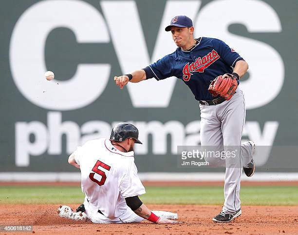 Asdrubal Cabrera of the Cleveland Indians turns a double play as Jonny Gomes of the Boston Red Sox slides late in to second base in the third inning...
