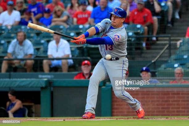 Asdrubal Cabrera of the New York Mets takes a strike against the Texas Rangers in the top of the first inning at Globe Life Park in Arlington on June...