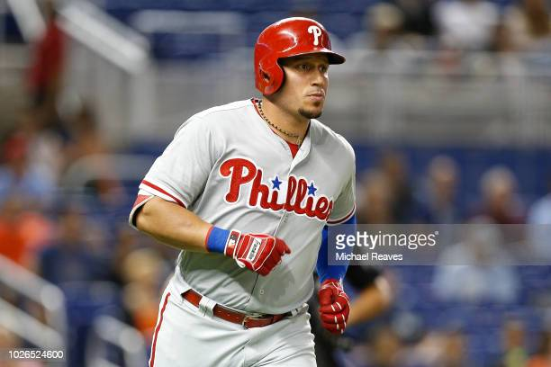 Asdrubal Cabrera of the Philadelphia Phillies rounds the bases after hitting a solo home run in the second inning against the Miami Marlins at...