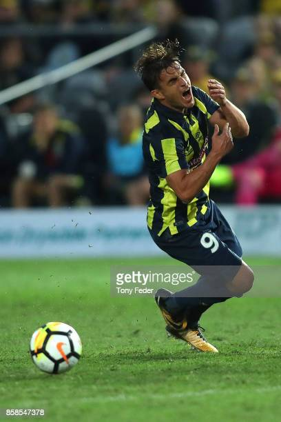 Asdrubal of the Mariners appeals for a free kick during the round one A-League match between the Central Coast Mariners and the Newcastle Jets at...