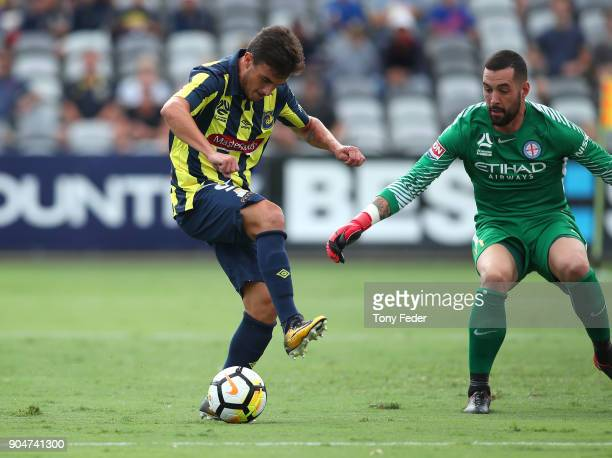 Asdrubal of the Mariners back heels the ball during the round 16 ALeague match between the Central Coast Mariners and Melbourne City at Central Coast...