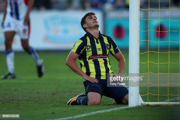 Asdrubal of the Mariners looks dejected during the round one A-League match between the Central Coast Mariners and the Newcastle Jets at Central...