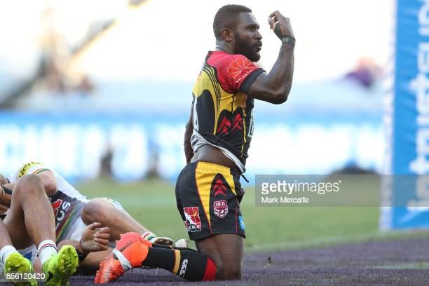 Ase Boas of the Hunters scores a try during the 2017 State Championship Final between the Penrith Panthers and Papua New Guinea Hunters at ANZ...