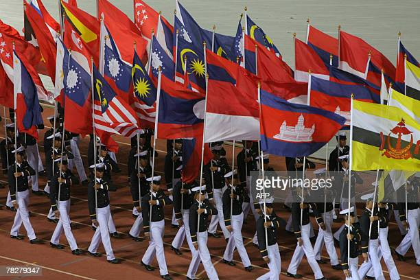 Asean countries flags arae paraded during the opening ceremony of the 24th Southeast Asian Games in Korat 06 December 2007 Countries competing in the...