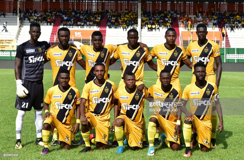 Asec d'Abidjan players pose ahead of the African Champions league football match between Asec d'Abidjan and Buffalos of Benin at The Felix Houphouet-Boigny Stadium in Abidjan on February 21, 2018
