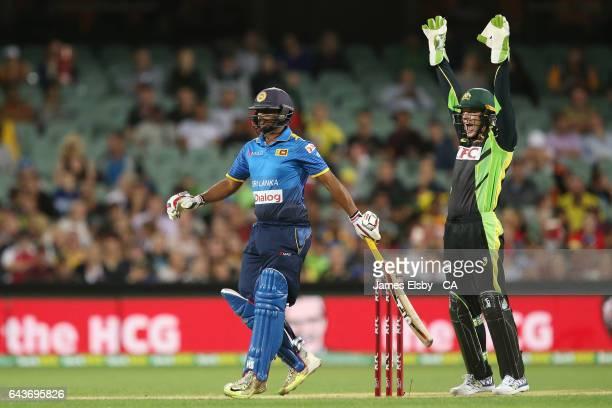 Asela Gunaratne of Ari Lanka out LBW as Tim Paine of Australia appeals during the International Twenty20 match between Australia and Sri Lanka at...