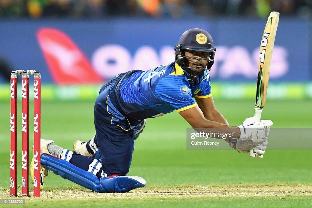 Asela Gunaratne of Sri Lanka bats during the second International Twenty20 match between Australia and Sri Lanka at Simonds Stadium on February 19, 2017 in Geelong, Australia.