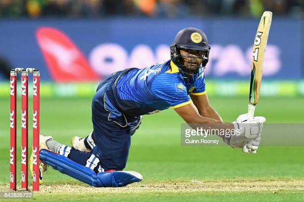 Asela Gunaratne of Sri Lanka bats during the second International Twenty20 match between Australia and Sri Lanka at Simonds Stadium on February 19...