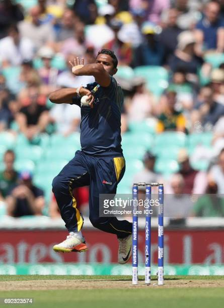 Asela Gunaratne of Sri Lanka bowling during the ICC Champions Trophy Group B match between Sri Lanka and South Africa at The Kia Oval on June 3, 2017...
