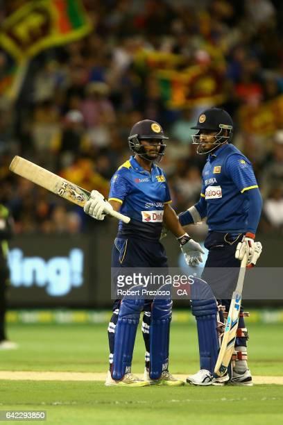 Asela Gunaratne of Sri Lanka celebrates his half century during the first International Twenty20 match between Australia and Sri Lanka at Melbourne...