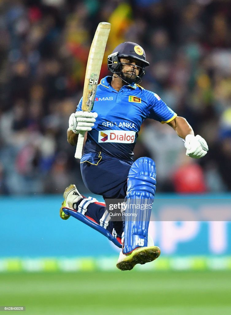 Asela Gunaratne of Sri Lanka celebrates hitting the winning runs to win the second International Twenty20 match between Australia and Sri Lanka at Simonds Stadium on February 19, 2017 in Geelong, Australia.