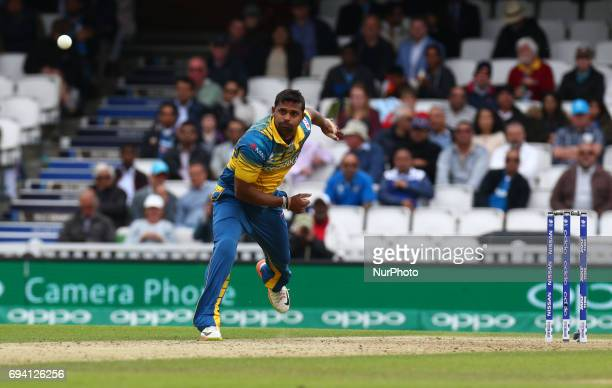 Asela Gunaratne of Sri Lanka during the ICC Champions Trophy match Group B between India and Sri Lanka at The Oval in London on June 08, 2017