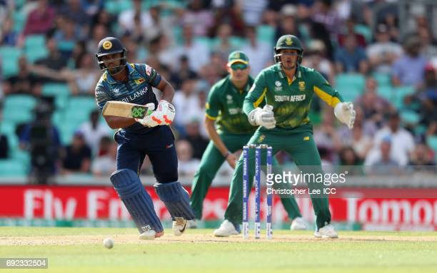Asela Gunaratne of Sri Lanka in action during the ICC Champions Trophy Group B match between Sri Lanka and South Africa at The Kia Oval on June 3,...