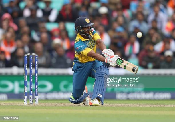Asela Gunaratne of Sri Lanka in action during the ICC Champions Trophy Group B match between India and Sri Lanka at The Kia Oval on June 8, 2017 in...
