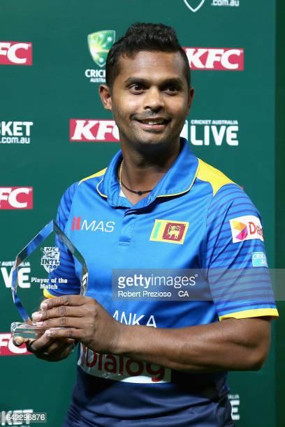 Asela Gunaratne of Sri Lanka is awarded player of the match during the first International Twenty20 match between Australia and Sri Lanka at...