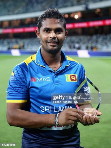 Asela Gunaratne of Sri Lanka is awarded player of the match during the second International Twenty20 match between Australia and Sri Lanka at Simonds...