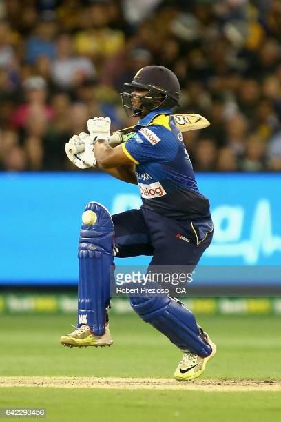 Asela Gunaratne of Sri Lanka plays a shot during the first International Twenty20 match between Australia and Sri Lanka at Melbourne Cricket Ground...