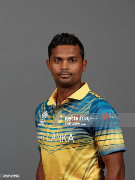 Asela Gunaratne of Sri Lanka poses for a picture during the Sri Lanka Portrait Session for the ICC Champions Trophy at Grand Hyatt on May 27, 2017 in...