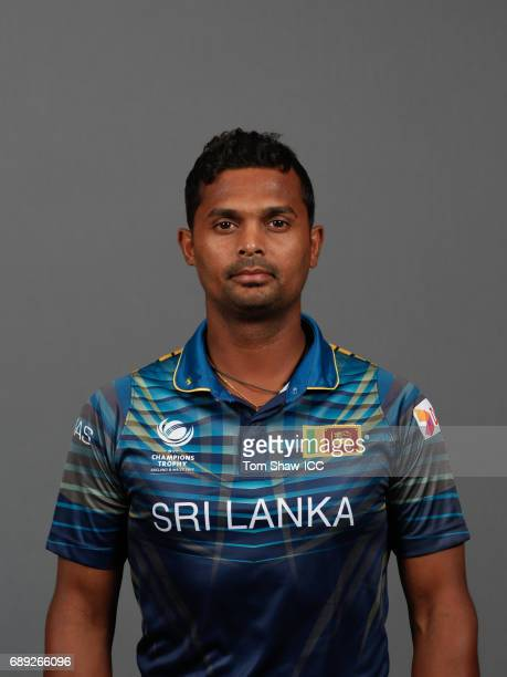 Asela Gunaratne of Sri Lanka poses for a picture during the Sri Lanka Portrait Session for the ICC Champions Trophy at Grand Hyatt on May 27 2017 in...