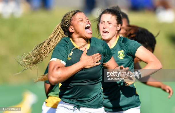 Aseza Hele of South Africa celebrate after scoring a try during the Womens Rugby International match between South Africa and Scotland at City Park...