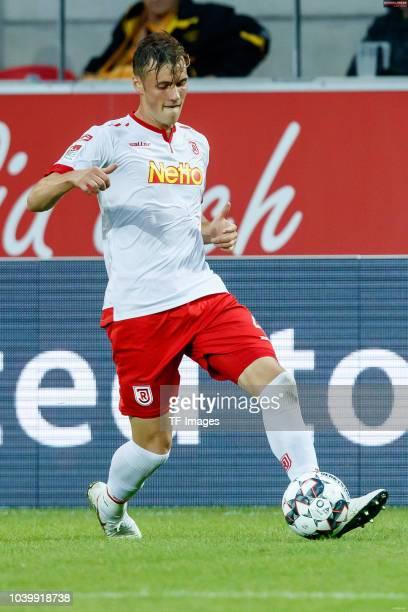 Asger Soerensen of Jahn Regensburg controls the ball during the Second Bundesliga match between SSV Jahn Regensburg and SG Dynamo Dresden on...
