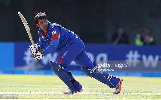 Asghar Stanikai of Afghanistan in action during the ICC World Twenty20 India Qualifier between UAE and Afghanistan at the Grange Cricket Club, on...