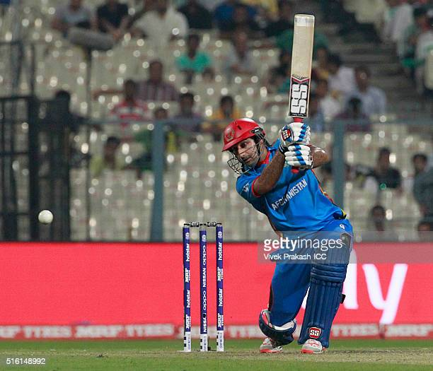 Asghar Stanikzai captain of Afghanistan hits a shot during the ICC World Twenty20 India 2016 match between Sri Lanka and Afghanistan at Eden Gardens...