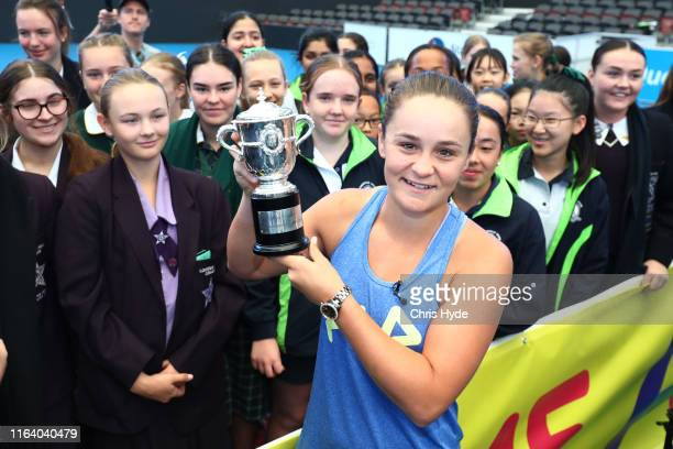 Ash Barty holds the French Open trophy during the Ash Barty Welcome Home event at Queensland Tennis Centre on July 25 2019 in Brisbane Australia