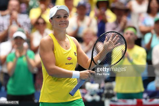 Ash Barty of Australia celebrates after winning her match against Caroline Garcia of France in the 2019 Fed Cup Final tie between Australia and...