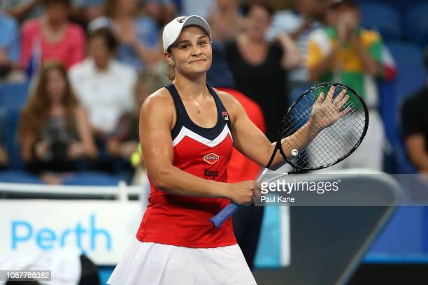 Ash Barty of Australia celebrates defeating Alize Cornet of France in their singles match during day one of the 2019 Hopman Cup at RAC Arena on...