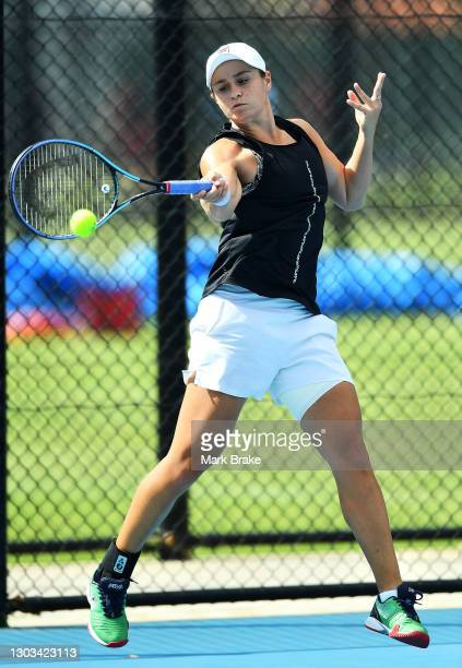 Ash Barty of Australia during her practice session at Memorial Drive on February 22, 2021 in Adelaide, Australia.