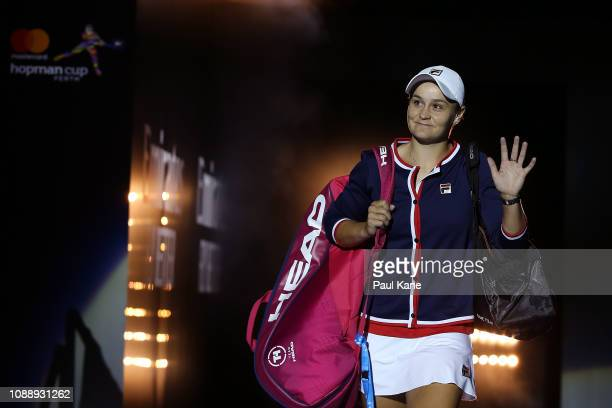 Ash Barty of Australia is introduced onto court for her singles match against Garbine Muguruza of Spain during day five of the 2019 Hopman Cup at RAC...