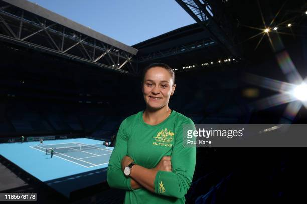 Ash Barty of Australia poses during a media opportunity ahead of the 2019 Fed Cup Final between Australia and France at RAC Arena on November 04,...