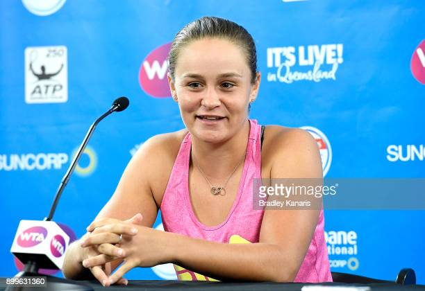Ash Barty of Australia speaks during the 2018 Brisbane International Official Draw and Media Opportunities at Pat Rafter Arena on December 30 2017 in...