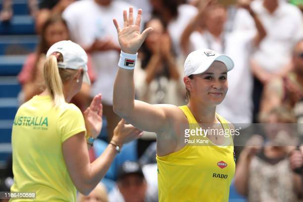 Ash Barty of Australia waves to the crowd after winning her match against Caroline Garcia of France in the 2019 Fed Cup Final tie between Australia...