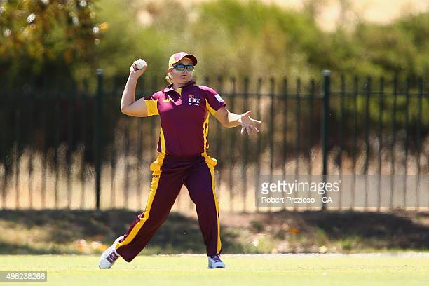 Ash Barty of Queensland fields the ball during the WNCL match between Queensland and Western Australia at Park 25 on November 22 2015 in Adelaide...