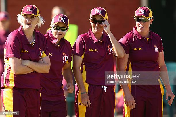 Ash Barty of Queensland looks on with teammates during the WNCL match between Queensland and Western Australia at Park 25 on November 22 2015 in...