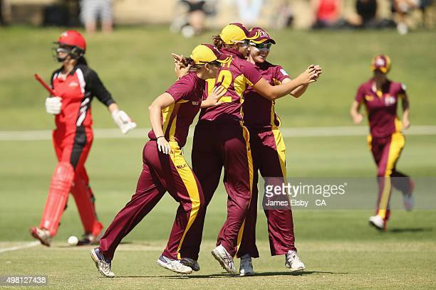 Ash Barty of the Fire celebrates catching Alex Price of the Scorpions during the WNCL match between South Australia and Queensland at Railsways Oval...