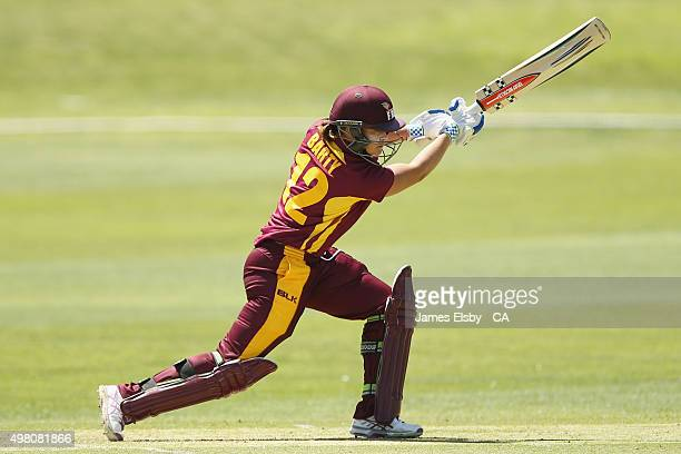 Ash Barty of the Fire plays a shot during the WNCL match between South Australia and Queensland at Railsways Oval on November 21 2015 in Adelaide...