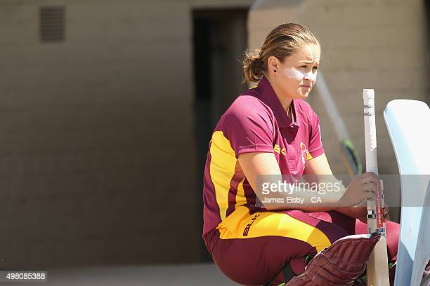 Ash Barty of the Fire waits to bat during the WNCL match between South Australia and Queensland at Railsways Oval on November 21 2015 in Adelaide...