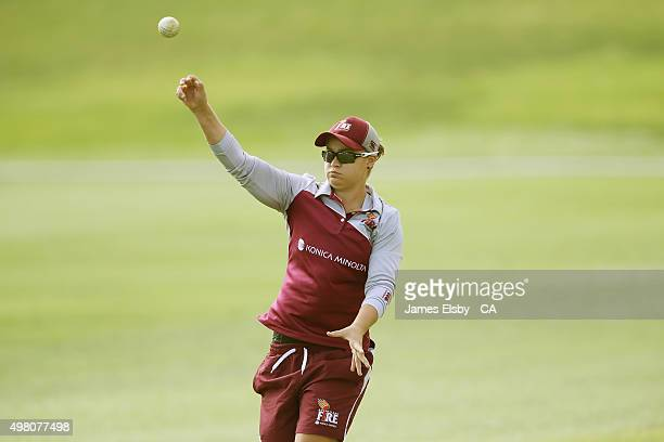 Ash Barty of the Fire warms up before they play the Scorpions during the WNCL match between South Australia and Queensland at Railsways Oval on...