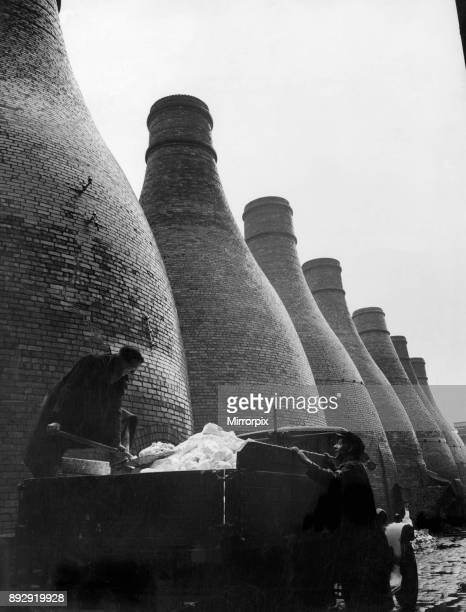 Ash being cleared from a group of potters kilns in Stoke on Trent Staffordshire 4th April 1937