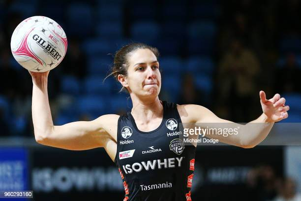 Ash Brazill of the Magpies passes the ball during the round four Super Netball match between the Magpies and the Lightning at Margaret Court Arena on...
